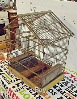 Ancienne Cage à Canaris Chardonneret vintage vers 1900 bois et métal à restaurer