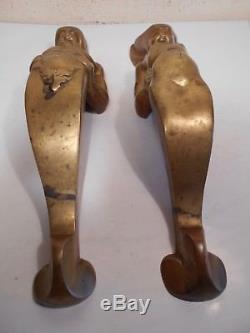 Ancienne Paire Poignée Couple Faune Stylisé Design Cocteau Era Vintage 1940-50