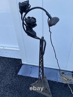 Ancienne Pied De Lampe En Fer Forge Decor Fleur Art Nouveau Deco Vintage