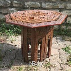 Ancienne petite table a thé en bois laqué signe du zodiaque vintage art déco
