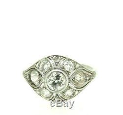 Anneau Antique Art Nouveau or Blanc 18k Vintage Fin Huit Cents Diamants 2,1 CT