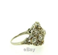 Anneau Antique Art Nouveau or Massif 18k Vintage avec Diamant 2,2 CT en Tout