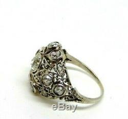 Anneau Art Nouveau Ans 10 Liberty or Massif 18 KT Vintage Diamants Naturels