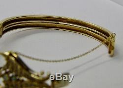 Antique Bracelet en Or Art Nouveau Vintage Rigivo Diamants Opales Perles America