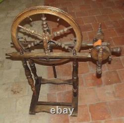Antique Rouet France SPINNING WHEEL Big Wheel 16 incomplet Deco Vintage laine