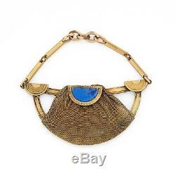 Antique Vintage Art Nouveau 14k or Rempli Gf Lapis Lazuli Lavaliere Pendentif