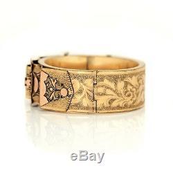 Antique Vintage Art Nouveau 14k or Rempli Gf Taille D'Epargne Mariage Bracelet