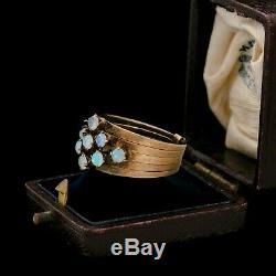 Antique Vintage Art Nouveau 14k or Rose Opale Empilage Cinq Anneau Bague Sz 7.5