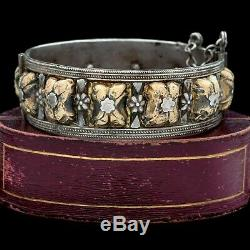 Antique Vintage Art Nouveau 18k or Argent Sterling Marocain Bracelet