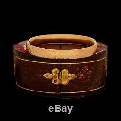 Antique Vintage Art Nouveau 18k or Rose Chassé Mariage Bracelet à Charnière