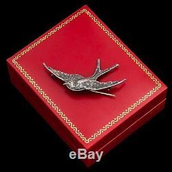 Antique Vintage Art Nouveau 925 Argent Sterling Figuratif Sparrow Oiseau Broche