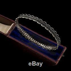Antique Vintage Art Nouveau 925 Argent Sterling Filigrane Mariage Bracelet