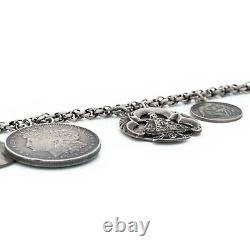Antique Vintage Art Nouveau 925 Argent Sterling Religieux Charme Géante Bracelet