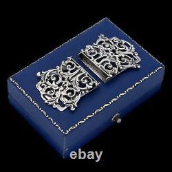 Antique Vintage Art Nouveau 925 Argent Sterling Rococo Jarretelle Pince De 15.5g