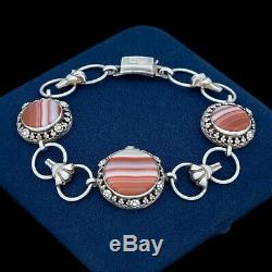 Antique Vintage Art Nouveau 935 Argent Sterling Réunis Agate Riviere Bracelet