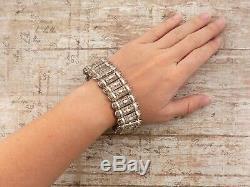 Antique Vintage Art Nouveau Argent Massif 800 Allemagne Filigrane Bracelet Lien