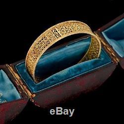 Antique Vintage Art Nouveau Argent Sterling 14k or Filigrane Bracelet