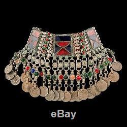 Antique Vintage Art Nouveau Argent Sterling Afgani Kuchi Mode Collier Ras Du Cou
