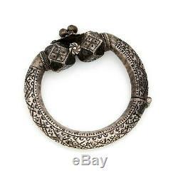 Antique Vintage Art Nouveau Argent Sterling Bédouin Yéménite Géante Bracelet