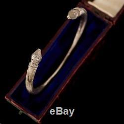 Antique Vintage Art Nouveau Argent Sterling East Asian Martelé Bracelet Rigide