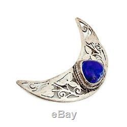 Antique Vintage Art Nouveau Argent Sterling Jugendstil Lapis Lazuli Broche