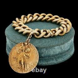 Antique Vintage Art Nouveau Argent Sterling Or Saint Christophe Bracelet 111.7g