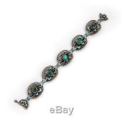 Antique Vintage Art Nouveau Argent Sterling Russe Filigrane Émaillé Bracelet