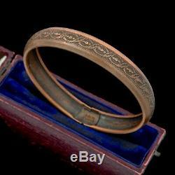 Antique Vintage Art Nouveau Cuivre Géométrique Curling Feuille Bracelet