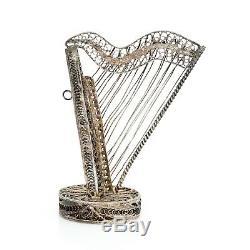 Antique Vintage Art Nouveau Sterling 800 Argent Harpe Filigrane Cannetille