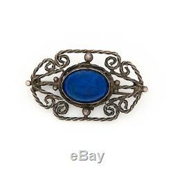 Antique Vintage Art Nouveau Sterling 800 Argent Italien Lapis Lazuli Broche