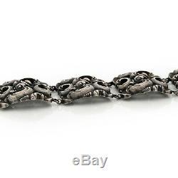 Antique Vintage Art Nouveau Sterling 800 Argent Rococo Repousse Volutes Bracelet