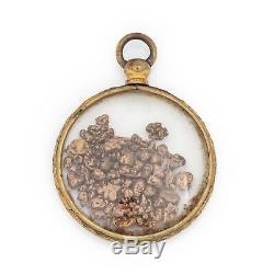 Antique Vintage Art Nouveau or Plombé Gf 22k Placer Gold Rush Pépites Pendentif