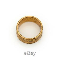 Antique Vintage Nouveau 18k or Rempli Gf Arts & Artisanat Jugendstil Ring Sz