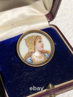 Antique enamel brooch miniature painting girl art nouveau vintage jewellery