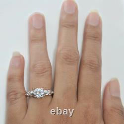Art Déco 10k or Blanc Finition Vintage Brillant Diamant Mariage Bague 1.20 Cts