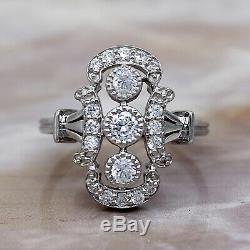 Art Déco Bague de Fiançailles Diamant Rond Vintage 14Kt Bague or Blanc