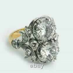 Art Déco Blanc Grand Diamant 925 Argent Fiançailles Vintage Ancien Bague