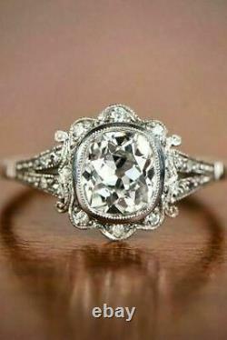 Art Déco Vintage Blanc Diamant Ancien Fiançailles Bague 925 Argent Sterling