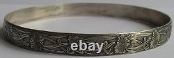 Art Nouveau Beauté Vintage Argent Sterling Floral Grand Poignet Bracelet