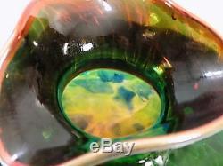 Art Nouveau Designer Vase Dickwandiges Verre Vert Bleu Art Verre Vintage 20. JHD