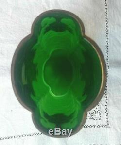 Art Nouveau Legras Mont Joye acide gravé camée vert émeraude vase doré vintage