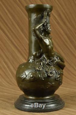 Art Nouveau Louis Auguste Moreau Reproduction Vintage Bronze Patine Vase Art