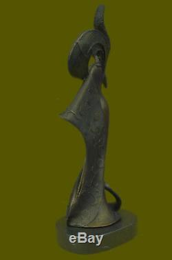 Art Vintage'Theatre' Jazz Singer Actrice Dancer Bronze Marbre Statue Artwork
