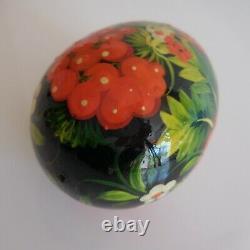 Art nouveau uf décoratif fait main bois verni vintage design XX France N5343