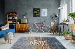 Arte Espina Tapis Moderne Usé Optique Vintage Loft Bleu Jaune Orange 195x290cm