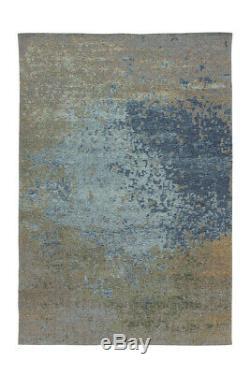 Arte Espina Tapis Vintage Brosse Design Moderne Usé Optique Bleu Beige 195x290cm