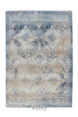 Arte Espina Tapis Vintage Usé Optique Oriental Motif Beige Bleu