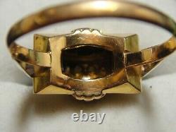 Bague Tank vintage art nouveau Or Gold 18k 750 + 4x Diamants Poinçons 2,16g T59