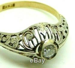 Bague Vintage Art Nouveau Antique Ans'10 Liberty 18 Kt Or Diamant 0,24 Ct