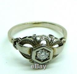 Bague Vintage Art Nouveau Antique Ans'10 Liberty Or Massif 18 Kt Diamants